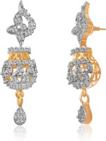 American Diamond Beautiful 18K Yellow Gold, Rhodium Plated Cubic Zirconia, Diamond Copper, Brass Drop Earring