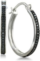 Ziveg Ziveg 92.5 Sterling Silver Earring Made With Swarovski Zirconia- Limited Edition Black Silver Swarovski Crystal Sterling Silver Hoop Earring