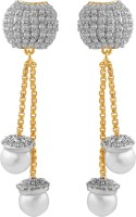 American Diamond Beautiful 18K Yellow Gold, Rhodium  K Cubic Zirconia, Pearl Copper, Brass Drop Earring