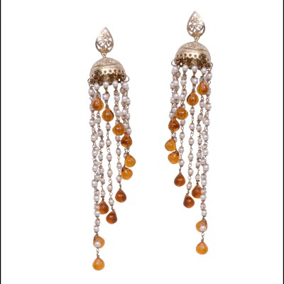 Alloy Vari Golden With Pearl Brass Pearl Alloy Jhumki Earring (Yellow)