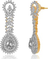 American Diamond Jiya 18K Yellow Gold, Rhodium Plated Cubic Zirconia, Diamond Copper, Brass Drop Earring