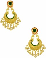 Orniza Chequered Polki Earrings In Ruby & Emerald Color With Golden Polish Brass Drop Earring