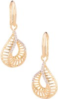 Voylla Artificial Classic Textured Yellow Gold Plated Cubic Zirconia Alloy Dangle Earring