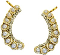 Surat Diamond Waves Of White Yellow Gold Pearl Metal Cuff Earring