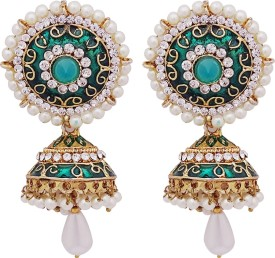 Gems N Pearls Antique green Alloy Jhumki Earring