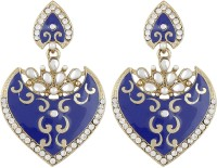Radius Blue Minakari Style Zircon Metal Drop Earring