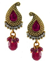 Beingwomen Elegant Gold-Plated With Kundan Studded Fashion Yellow Gold Plated Alloy Drop Earring