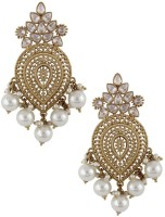 The Jewelbox Filigree Chandelier Yellow Gold Plated Copper Dangle Earring