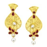 Sukkhi Shimmering Gold Plated Kundan Alloy Drop Earring