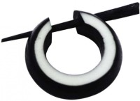 Little Goa Black And White Wooden Hoop Piercing Metal Stud Earring