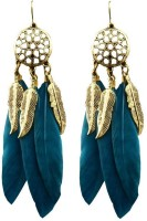 Oomph Peacock Green & Gold Feather Dream Catcher Metal Dangle Earring