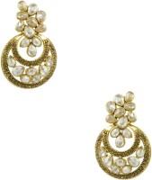 Orniza Polki Earrings In Champagne Color And Golden Polish Brass Chandbali Earring