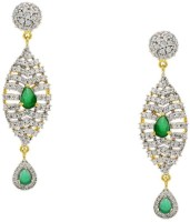 Pearls Cart Ad Stone Studded Peacock Theme Style Alloy Drop Earring - ERGEDKRQWZJMHFZA