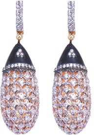 YUVEN Black Enamel Zircon Brass, Alloy Drop Earring
