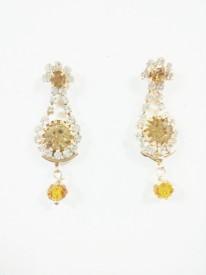 Lakshmi Narasimha GOLDEN Garnet Metal Drop Earring