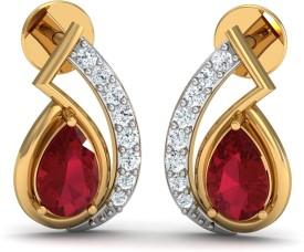 Damor Stupendous Yellow Gold 18kt Diamond, Ruby Stud Earring