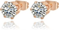 Swarovski Elements Small Solitaire 0.7 Cm Zircon Gold Plated Stud Gift For Women Rose Gold Plated Swarovski Crystal Metal Stud Earring