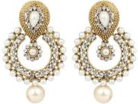 Trendy Nuts Dangle & Drop Golden Pearls Pearl Alloy Chandbali Earring