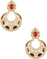 Voylla Artifictial Jali Textured Yellow Gold Plated Cubic Zirconia Alloy Dangle Earring