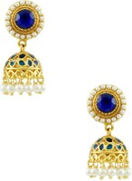 Orniza Rajwadi In Royal Blue Color With Golden Brass Jhumki Earring