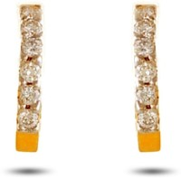 P.N.Gadgil Jewellers Tender 18K Yellow Gold Plated 18 K Diamond Gold Hoop Earring