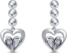 Vorra Fashion Dobble Heart Cubic Zirconia Sterling Silver Drop Earring