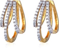 Alysa Hiyasvi 18K Yellow Gold, Rhodium Plated Cubic Zirconia Brass, Copper, Silver Huggie Earring