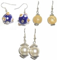 Beadworks Silver Plated  K Crystal Acrylic, Alloy, Bone, Brass, Ceramic, Glass, Lac, Metal, Resin, Shell, Stone, Wood Earring Set - ERGEY8UZDYEQVH5V