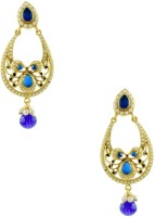 Orniza Rajwadi Earrings In Royal Blue Color And Golden Polish Brass Chandbali Earring