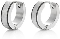 Vaishnavi First Quality Korean Made 2 Black Stripe Titanium Finished Shining 316L Surgical Stainless Steel Huggie Earring