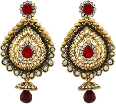 Asmara Designer Gold Plated Kundan Studded Alloy Dangle Earring