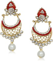 Meenaz Red & White Colour Stone Design  K Cubic Zirconia Alloy Chandelier Earring