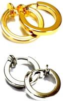 Vaishnavi Clip On Silver Golden Bali Combo For Non-Pierced Alloy Earring Set