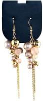 Oomph Gold, Pink & Peach Beads & Tassel Metal Dangle Earring