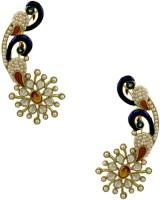 Orniza Rajwadi Peacock Shape Ear Cuffs In Champagne Color And Golden Polish Brass Cuff Earring