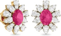 WearYourShine By PCJ The Vakera Yellow Gold 18kt Diamond, Ruby Stud Earring