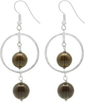 Gemtogems Smoky Quartz Dangling Rhodium Quartz Sterling Silver Dangle Earring