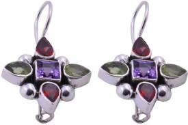 Jewels Mountain Elegant Amethyst, Garnet, Peridot Sterling Silver Dangle Earring