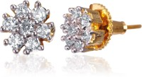 Alysa Aabharya 18K Yellow Gold, Rhodium Plated Cubic Zirconia Brass, Alloy, Silver Stud Earring