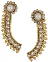 The Jewelbox Pearl Temple Yellow Gold Plated Cubic Zirconia Copper Cuff Earring