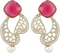 Radius Pink Stone Cutting Work Style Zircon Metal Drop Earring