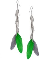 Fayon Contemporary Statement Green And Grey Feather With Spikes Alloy Dangle Earring