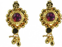 Womens Trendz Violet Mani Saaj Yellow Gold Plated  K Crystal Alloy Drop Earring
