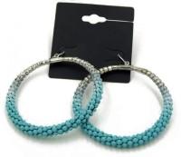 Oomph Silver & Blue Fashion Jewellery Hoop Bali For Women, Girls & Ladies Metal Dangle Earring