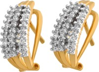 Alysa Hiya 18K Yellow Gold, Rhodium Plated Cubic Zirconia Brass, Copper, Silver Huggie Earring