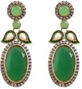 Rajwada Arts Gold Plated With American Diamond And Green Stone Brass Drop Earring