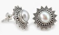 YugshaJewels Sparkling White Pearl Pearl Sterling Silver Stud Earring