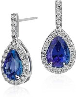 Plato Jewels Sparkling Cz Sterling Silver Plated Swarovski Crystal Sterling Silver Drop Earring