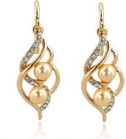 Kundaan Rich Elegant 18K Yellow Gold Plated Pearl, Crystal Alloy Dangle Earring