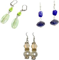 Beadworks Silver Plated  K Crystal Acrylic, Alloy, Bone, Brass, Ceramic, Glass, Lac, Metal, Resin, Shell, Stone, Wood Earring Set